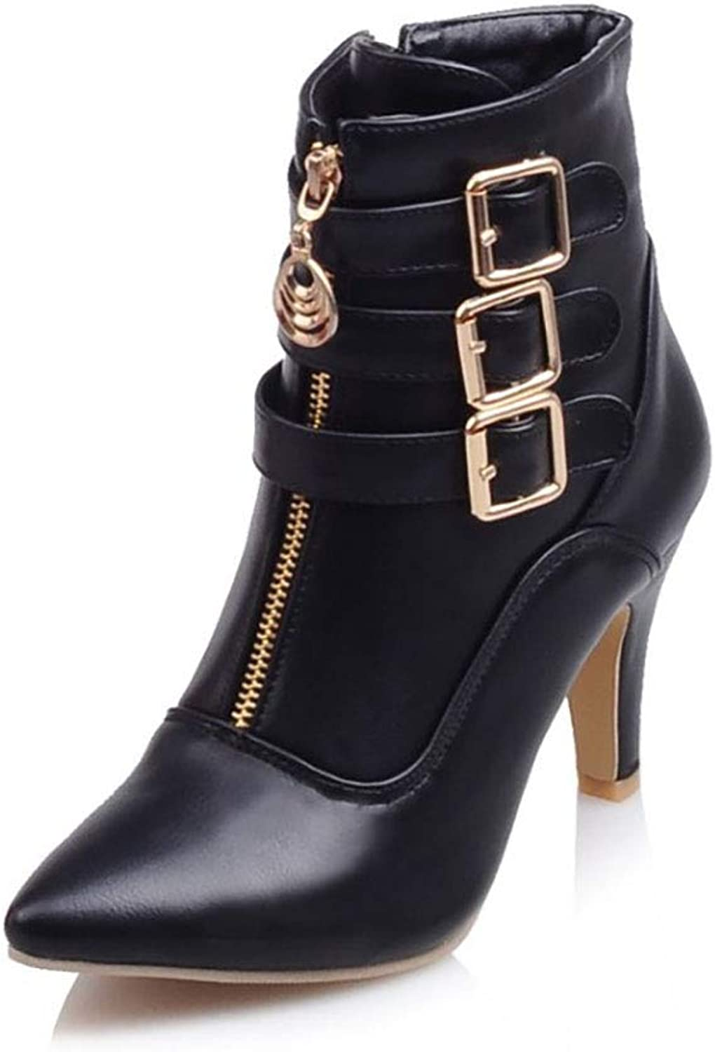 Women's Martin Boots Artificial PU Pointed high Heel and Bare Boots Side Zipper Belt Buckle Single Boots Autumn and Winter New