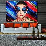 SLQUIET Sin Marco Mural Pintura al óleo Lienzo Arte Sala de Estar Imagen de la Pared decoración del hogar Hermosa Maquillaje niña decoración Lienzo Pintura 50x75cm sin Marco