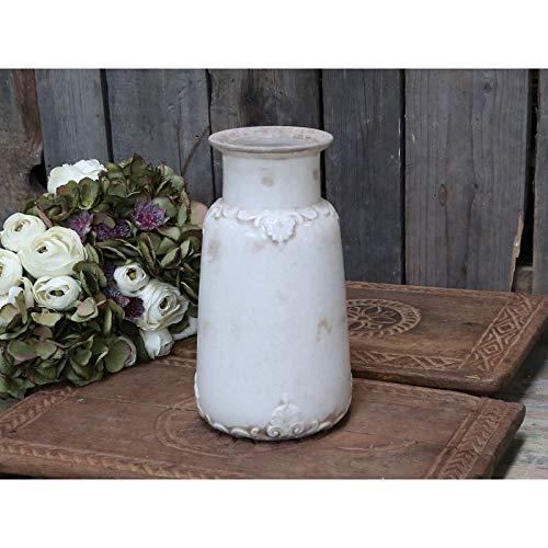 Chic Antique Blumenvase Vase Kanne Krug Marcy Antikcreme Porzellan mit französischem Dekor Höhe 26 cmcm