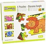 Andreu Toys - Diorama con 4 Puzzles, de Madera, diseño de Selva, 48 Piezas (16460.0)