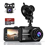 Dual Dash Cam,ZIAMRE Dashboard Camera with FHD 1080P 3 Inch LCD Screen, Car Driving Recorder Equipped with 170°Wide Angle, Night Vision Function, G-sensor, Loop Recording, Parking Monitor, 32G SD Card