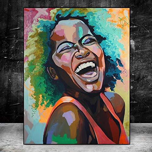 DIY Pintar por números Mujer Africana Cara Sonriente Pintura al óleo Pintura por Kit de números para Adultos Niños50x40cm(20X16inch) Pintura sin Marco