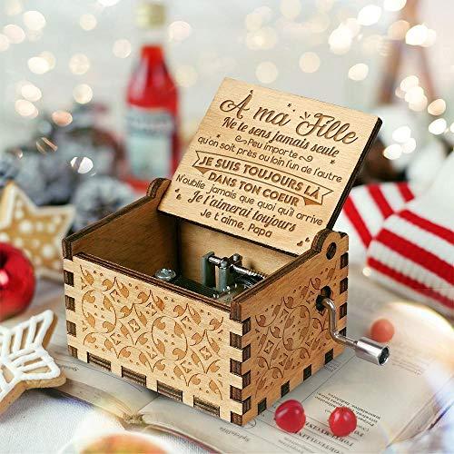 Boîte à Musique Papa à Fille, Français, Boîte à Musique Main-en Bois, Musique à manivelle, Cadeau de décoration en Bois à Motif créatif, Cadeaux de Noël / anniversaire en Français (Papa à Fille)