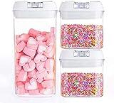 Syxfckc Caja de Almacenamiento de Grano Confitería recipientes de plástico latas Selladas, de Tres Piezas, contenedores for los Granos de contenedores de Almacenamiento de Alimentos, Libre de BPA