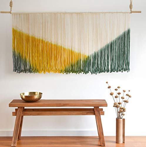 """Flber Large Wall Hanging Tie-Dye Yarn Tapestry Geometric Colorful Bohemian Wall Décor 59"""" Wx31 L (Green Yellow)"""