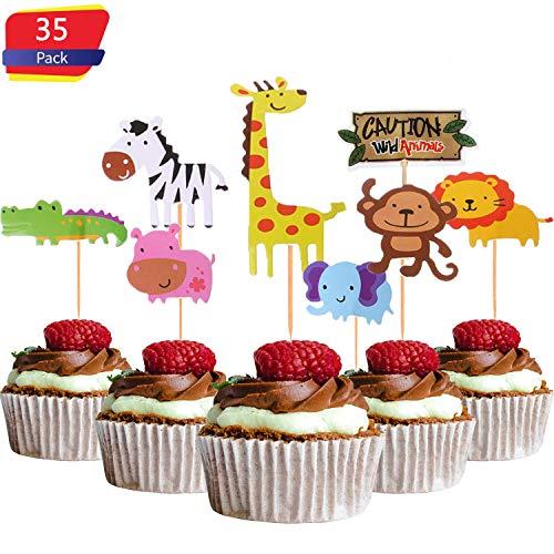 XUNKE 35 Stück Zoo Tier Cupcake Toppers für Kinder Baby Party Geburtstag Party Kuchen Dekoration Supplies Löwe Nilpferd AFFE Elefant Zebra Giraffe Krokodil