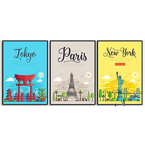 HNZKly Art Paris Londres New York Rome Tokyo Voyage Affiches Dessin animé Paysage Murale Art Toile Tableau peintures Salon Chambre Decoration à la Maison 30x40cmx3 / sans Cadre