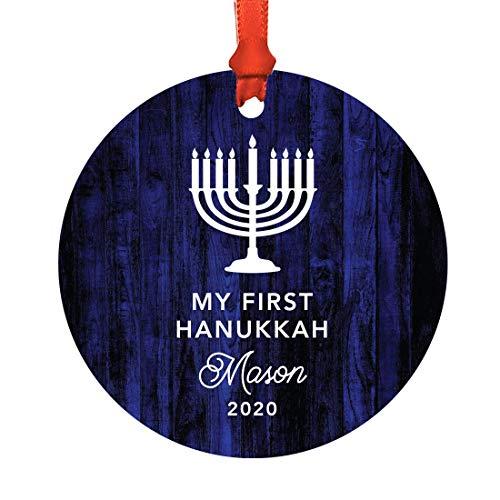 Andaz Press Personalized Baby's 1st Hanukkah Metal Ornament, My First Hanukkah, Zara 2020, Navy Blue Menorah, 1-Pack, Includes Ribbon and Gift Bag, Custom Name