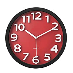 Tempus TC62127R Contemporary Wall Clock with Raised Contrasting Numerals and Silent Sweep Quiet Movement, 13, Red/Black