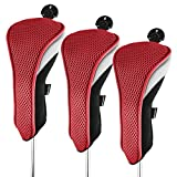 Andux 3 Piezas Funda de Palo de Golf híbridos con Intercambiable No. Etiqueta MT/hy01 (Negro/Rojo)
