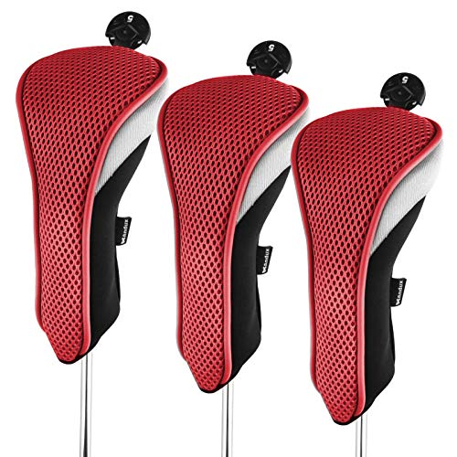 Andux 3 Packung Hybrid Golf Schlägerkopfhüllen Golf Eisen deckt Eisenhauben austauschbar Nr. Etikett MT/hy01 schwarz/rot MEHRWEG