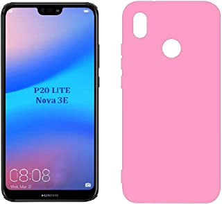 Case Matte plastic Smooth, Soft flexible, Candy Colors TPU Cover for Huawei P20 Lite/Nova 3E (Pink)