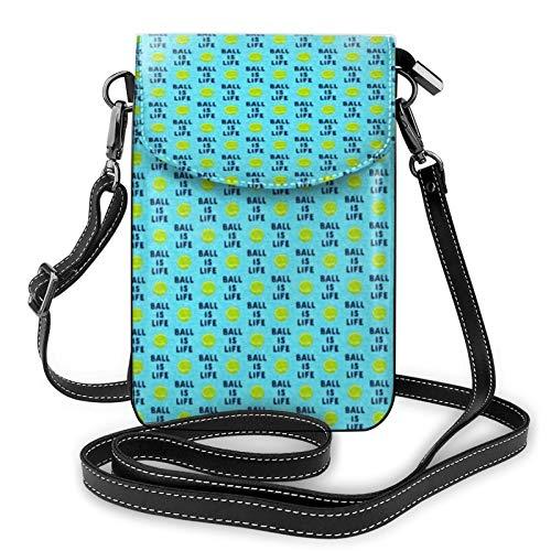Ball is Life Blue Dog Tennis Ball Ladbs Ladies Wallet Mobile Phone Bag Mini Shoulder Bag with Shoulder Strap Coin Purse Card Holder
