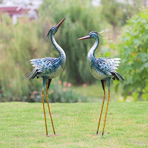 Crane Garden Statues Outdoor Metal Yard Art Statues and Sculptures,Blue (2-Pack)