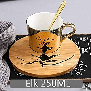 Mug sspecular Reflection Ceramic Coffee Cups and Saucers Scoop Upgraded High-End Wooden Plate English Afternoon Tea Cup Se...