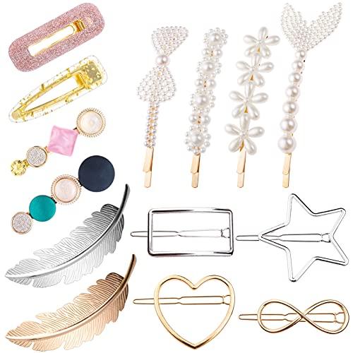 MELLIEX 14 Piezas Horquillas Pelo Mujer, Pinza de Perlas Artificiales Metal Clips de Pelo Pinzas para el Cabello de Resina Acrílica Accesorios para Mujer Niña