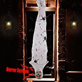 Ogrmar 71 Inch Halloween Decorations Cocoon Corpse, Scary Mummy Hanging Props with Realistic Skull, Fake Spider, Motion Sensored LED Glowing Eyes and Creepy Sound for Halloween Party Decor