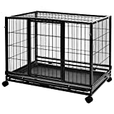 Amazon Basics Heavy Duty Stackable Pet Kennel on Wheels with Tray, 36-inch