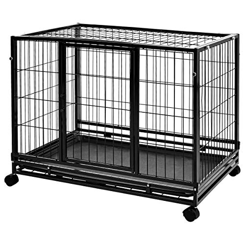 pet crate with wheels Amazon Basics Heavy Duty Stackable Pet Kennel on Wheels with Tray, 36-inch