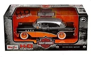 New 1:26 W/B MAISTO HARLEY DAVIDSON COLLECTION - MATTE BLACK & ORANGE 1955 BUICK CENTURY Diecast Model Car By Maisto