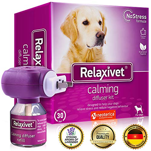 Relaxivet Dog Calming Pheromone Diffuser Kit - Improved No-Stress Formula - Anti-Anxiety Calm Treatment #1 for Dogs with a Long-Lasting Relax Effect (Diffuser + Refill)