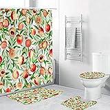 ZXMOTO Pfirsich-Badezimmerteppich-Set, pfirsichfarben, Duschvorhang mit rutschfestem Teppich, WC-Deckelbezug & Badematte, wasserdichter Duschvorhang, niedliches Obst-Design (4 Stück)