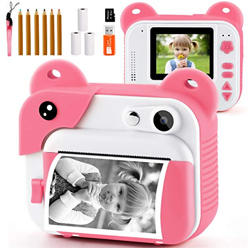 PROGRACE Kids Camera Instant Print Camcorder Kids Digital Video Camera 12M Toddler Birthday Gift Girls Toys Age 3 4 5 6 7 8 9 10 11 12 Year Old Magic Fun Children Camera with Print Paper