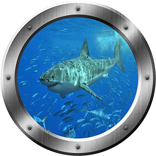 "Great White Shark Wall Decal - Porthole Sticker, Kids Room Wall Decor VWAQ-PO12 (14"" Diameter)"