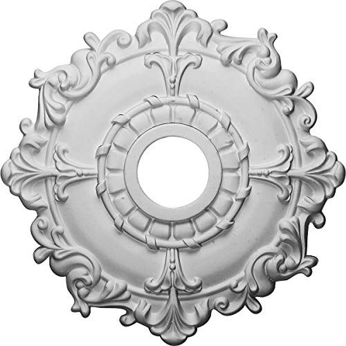 "Ekena Millwork CM18RL Riley Ceiling Medallion, 18""OD x 3 1/2""ID x 1 1/2""P (Fits Canopies up to 4 5/8""), Factory Primed"