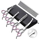 Viktop Set di 4 forbici per la toelettatura dei cani, in acciaio INOX resistente, per tagliare gli animali domestici, diradamento, dritto, curvo