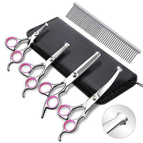 Juego de 4 tijeras de peluquería para perros, de acero inoxidable resistente, para cortar mascotas, herramienta para adelgazar, recta, curvada, para pelo largo y corto