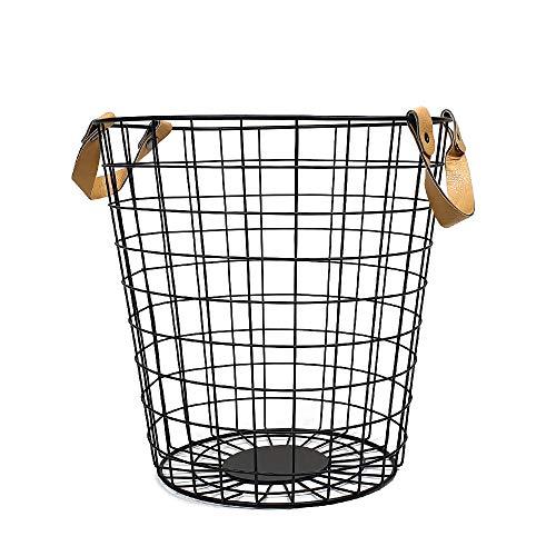 QUVIO Großer Aufbewahrungskorb aus Metall/Geflochtener Korb/Drahtgitterkorb Industrie/Ledergriffe/Deckenkorb - Schwarzmetall