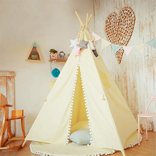 Nvshiyk Kids Teepee Play Foldable Cotton Canvas Tent Photography Props Indian Theater With Window Pockets For Girls Boys Babies Indoor and Outdoor Children's Toys (Color : C3, Size : As shown)