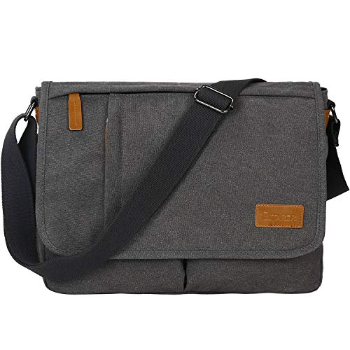 Estarer Messenger Bag for Men Women,13-14 Inch Laptop Water Resistant Shoulder Crossbody Bookbag Canvas Satchel