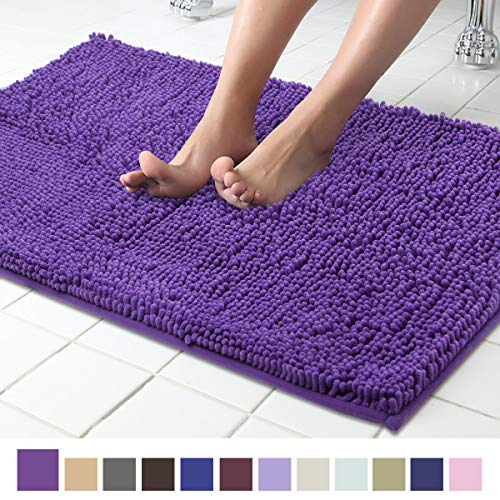 ITSOFT Non Slip Shaggy Chenille Soft Microfibers Bath Mat for Bathroom Rug Water Absorbent Carpet, Machine Washable, 21 x 34 Inches Lilac