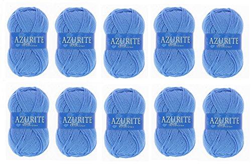 Lot 10 Pelotes de laine Azurite 100% Acrylique Tricot Crochet Tricoter - Bleu - 151