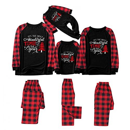 Pijamas de Navidad para la familia a cuadros rojos Elk Navidad pijamas a juego familia ropa de dormir cómoda y suave ropa de dormir, A-negro, L