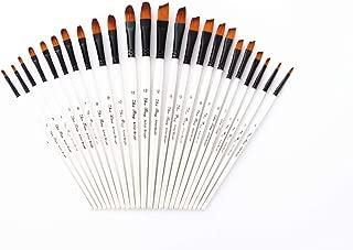 Febbya Pinceles para Pintar,12 Pack Pinceles Resistente Miniatura Cepillos para Al Óleo Acrílica Acuarela Amateur Profesionales Adultos Adolescentes Niños Blanco Cabeza Redonda