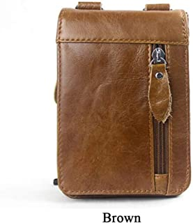 Retro Fashion Leisure Style Fanny Pack Lightweight Genuine Leather Men's Business Shoulder Bag Messenger Bag Waist Bag with 3 Pockets Set for Travel