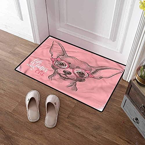 Alfombrilla de Puerta Impresión 3D Felpudo de Bienvenida Perro Chihuahua Chica Dibujo Antideslizante Alfombrilla de Puerta de Goma Lavable Alfombra de baño Alfombra de Sala de Estar