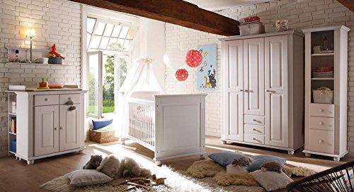 lifestyle4living Babyzimmer, Kinderzimmer, Komplett-Set, Babymöbel, Einrichtung, Junge, Mädchen, Kleiderschrank, Wickelkommode, Babybett, weiß Wachs
