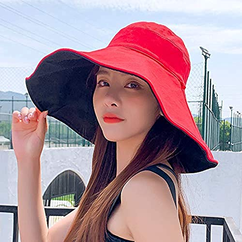 hwljxn Sombrero de Sol Protector Solar de Mujer Gran Sombrero de ala de ala Facial con Sombrero de Verano antiultravioleta Coreano Sombrero