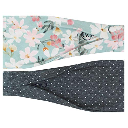 Maven Thread Women's 4-Inch No-Slip Sweat-Wicking Headband for Exercise and Yoga, 2-Pack Gray Polka Dots and Pink-and-White Floral (Wildflower)