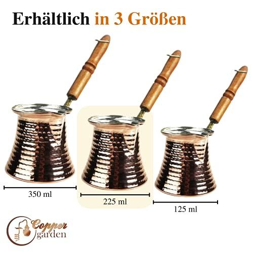 Copper Garden Mokkakanne aus Kupfer I Ibrik aus lebensmittelecht verzinntem Kupfer mit Holzgriff I Mittelgroße Kupferkanne zum Milchaufwärmen (für Kaffee) oder zum echten Mokka Kochen - 2