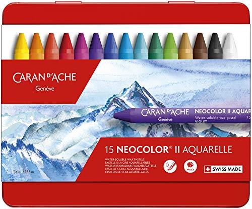Caran d'Ache - NEOCOLOR II - Assortimento 15 Pastelli a cera acquerellabili - 750.0315