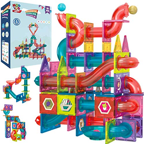 Magnetic Marble Run Building Set - 191 Piece - 3D Magnetic Tiles Ball Track -Building Kit Fun and Educational Toy STEAM Learning and Creativity Gift for Boys and Girls Ages 3 4 5 6 7 8 Years Old