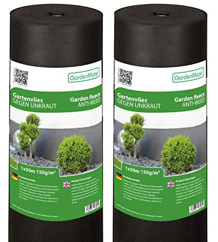 GardenMate 2X Rolle 1mx50m 150g/m² Premium Gartenvlies - Unkrautvlies Extrem Reißfestes Unkrautschutzvlies - Hohe UV-Stabilisierung - Wasserdurchlässig - 2x1mx50m² = 100m²