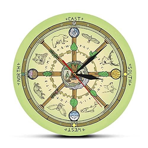 JKLMZYT La Rueda del año Reloj de Pared con impresión Sím