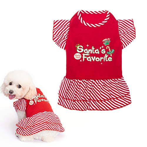 Dog Christmas Dresses for Small Dogs and Puppies, Girl Dog Dress Shirt Santa's Favorite Holiday Party Clothes Warm Cotton Skirt