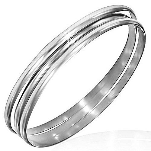 My Daily Styles - Set di 3 braccialetti rigidi, da donna, in acciaio inox placcato argento